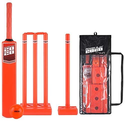 PowerPlay Cricket-Set aus Kunststoff mit Cricketschläger, Kwik Cricketball, 4 Stäben, Bügel und Tasche, Unisex, Kwik Cricketball, 4 Stäbchen und Tasche, BGG1677, Size 5 Bat
