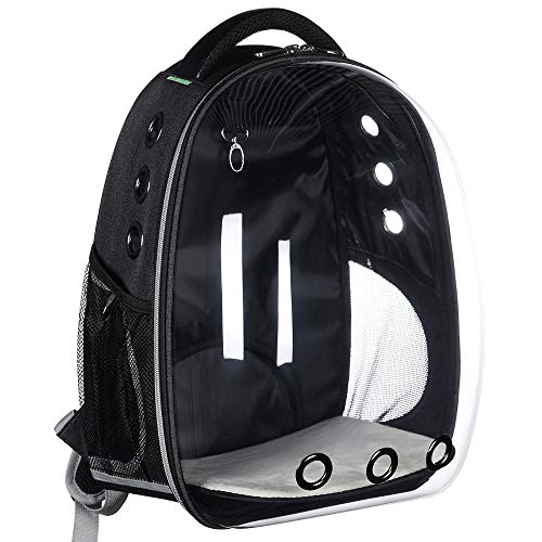 YEAKOO Transparent Travel Pet Carrier bag, Fashionable Portable Space Capsule Bubble Cat Dog Carrier Backpack, Breathable Carriers (Black)