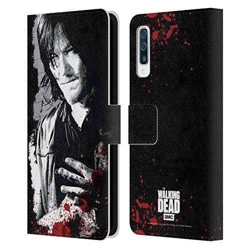 Head Case Designs Offizielle AMC The Walking Dead Verwundete Hand Blut Leder Brieftaschen Huelle kompatibel mit Samsung Galaxy A50s (2019)