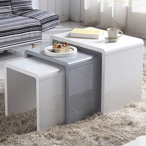 GOLDFAN Moderne 3er set Satztische Hochglanz Couchtisch Beistelltisch für Wohnzimmer Schlafzimmer Büro Rechteck, Weiß und Grau