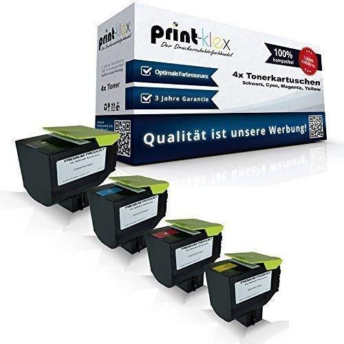 4x kompatible Tonerkartuschen für Lexmark CX410de CX410dte CX410e CX510de CX510dhe CX510dthe 802HK 802HC 802HM 802HY Black Cyan Magenta Yellow Sparset