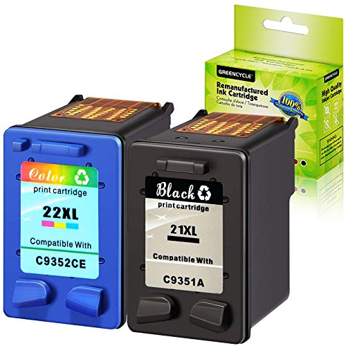 GREENCYCLE Remanufactured Ink Cartridge Set Replacement for HP 21XL C9351A 22XL C9352CE Compatible with DeskJet F350 F370 F375 F378 F380 F385 Printer (1 Pack Black and 1 Pack Tri-Color)