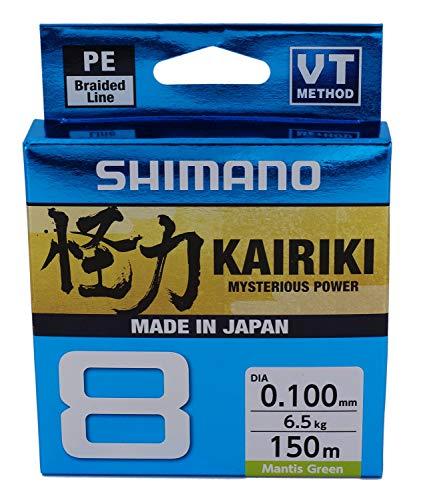 SHIMANO Kairiki 8, 150 Meter, Mantis Grün, 0.160mm/10.3kg, 8fach Geflochtene Angelschnur, 59WPLA58R03