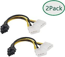 TanQY 2Pack 6 inch 2 x Molex 4 pin to 8-Pin PCI Express Video Card Pci-e ATX PSU Power Converter Cable - Molex to Pcie 8 pin 15cm (8Pin Male to 2X Molex)