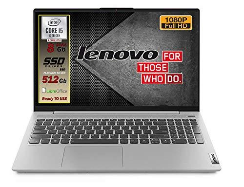 Notebook Lenovo Silver SSD Intel i5 10 th, Display FULL HD 1920x1080 Led da 15,6  Ram 8Gb DDR4 , SSD 512Gb , wifi, webcam, Bt, 3 usb, Win10 Pro, Pronto All uso immediato, Garanzia Italia 2 Anni