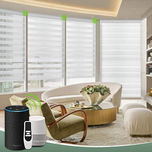 Yoolax Zebra Doppelrollos Automatische Elektrische Rollladen Alexa Google Home Sprachsteuerung lichtdurchlässig und verdunkelnd Anpassung(Grau)