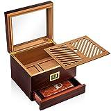 Hugo's Cigar Humidor Box - Cigar Case 35 to 60 Cigars - Antique Box with Digital Hygrometer, Humidifier, Humidity Pack...