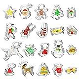 GWHOLE 20 piezas Navidad Moldes para Galletas de Acero Inoxidable Cortadores para Reposter...