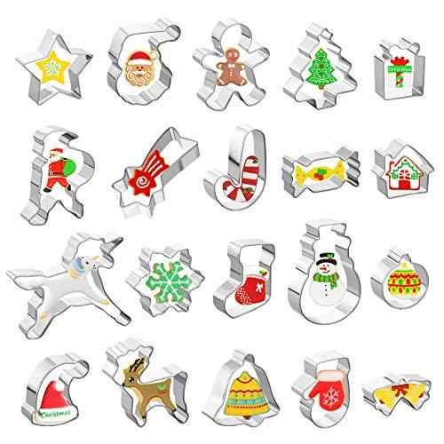 Gwhole Lot de 20 Emporte Pièces Noël en Acier Inoxydable Moule à Biscuits Cookies Sablés Patisserie Decoupoir en Forme Père Noël, Licorne, Flocon de Neige, Arbre de Noël