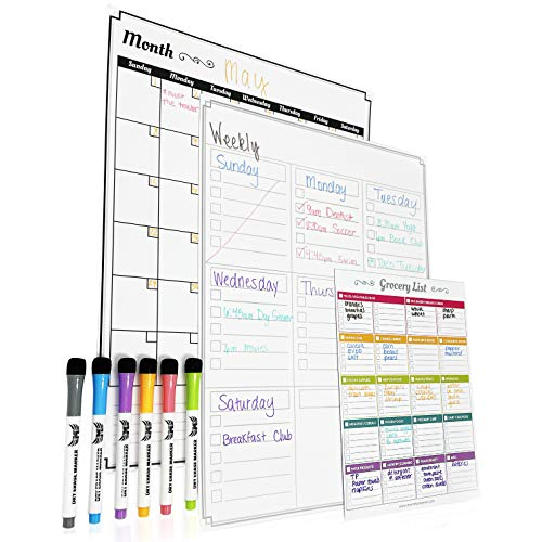 Magnetic Dry Erase Calendar for Fridge: Set of 3 Boards - Large Vertical 6-Week Magnetic Monthly Calendar + Magnetic to-do List Pad + Magnetic Shopping List Pad for Fridge - with 6 Fine Tip Markers