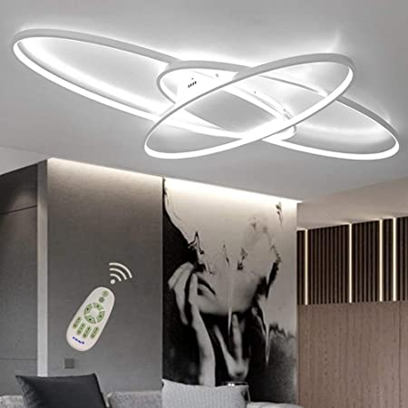 LED Modern Deckenleuchte Wohnzimmerlampe Dimmbar mit Fernbedienung Chic Eckig Design Acryl-schirm Deko Deckenlampe Metall Kronleuchter f/ür K/üchen Esszimmer Bad Flur Decke Lampe L90*W50cm Schwarz