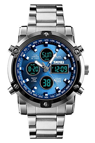 Digitaluhr Herren Silber Edelstahl Analog Quarz Armbanduhr Business Wasserdicht Stoppuhr Datum Countdown LED Alarm Multifunktional