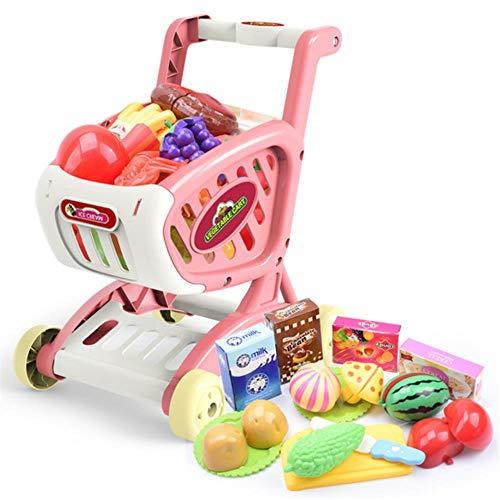 LEIXNDPLBO 15 Stks/set Winkelwagen Supermarkt Trolley Push Auto Meisjes Eten Fruit Fantasiespel Kinderen Speelgoed Mini Winkelmandje, Roze