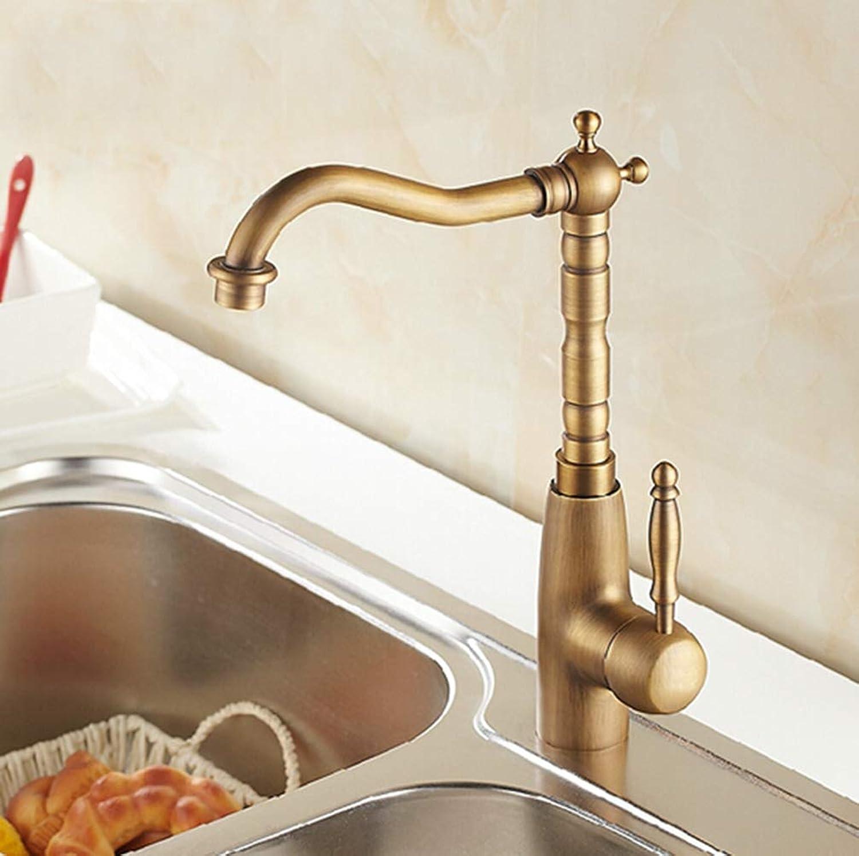 FZHLR Deck Mounted Basin Faucet Vintage Antique Brass Bathroom Sink Basin Faucet Mixer Tap Kitchen Faucet