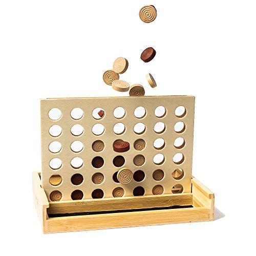 pandoo neues Bambus Spiel - 4 Gewinnt - Vier Gewinnt - Gesellschafts-Spiel für 2 Personen - Super auch als Geschenk geeignet