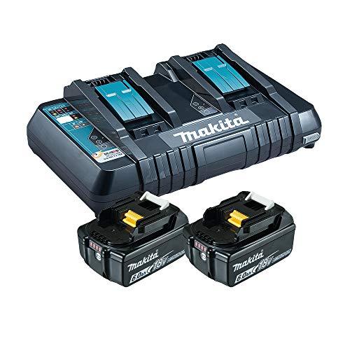 Makita Power Source Kit Li 18V mit 2x BL1860B Akku 6,0Ah + DC18RD Doppelladegerät (199484-8)