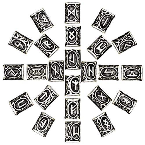 Rollator Walker, 24 Stück Antike Wikinger Nordische Runen Silber Norse Charm Befunde für Armband Anhänger Halskette Bart Dreadlocks Haar DIY Armband Schmuck Anhänger