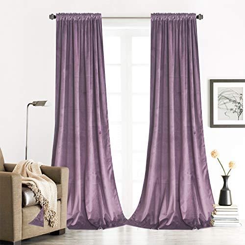 Roslynwood Lavender Velvet Curtains Room Darkening for Living Room - Light Blocking Velvet Curtain Panels Privacy with Rod Pocket & Back Tab Window Drapes for Bedroom, W52 by L96 inches, 2 Panels