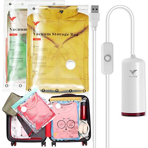 Vakuumbeutel für Kleidung mit USB tragbare Elektrischer LuftPumpe, für Koffer sparen Platz Organizer Reise Zubehör 4 STÜCKE (40 * 60cm) Wiederverwendbare Aufbewahrungsbeutel kleideraufbewahrung