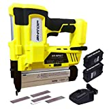BHTOP Cordless Brad Nailer 18Ga Heavy Finish Nail Gun With 18Volt 2Ah Lithium-ion Rechargeable Battery in Yellow With Charger and Carrying Case 2 Batteries Finish Nailer (Brad Nails Only)