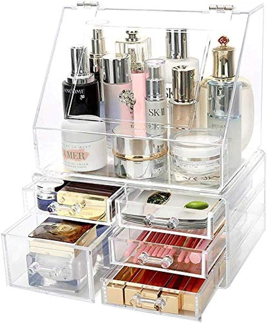 復活させる酔ってバージン化粧品収納ボックスホームPSデスクトップ大容量化粧品収納ボックス(サイズ:L27 * W18 * H32.5cm-B)