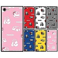 スマホケース スクエア ガラス パンダ 林檎 リンゴ 動物 アニマル 果物 06:ピンク iphone11