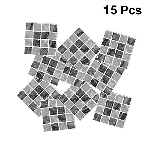 Garneck 15 Pezzi Peel And Stick backsplash Adesivi in ??Piastrelle di Mosaico di Cristallo 3D autoadesivi Adesivi murali Carta da Parati Adesivi per Cucina di casa Bagno