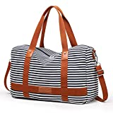 Canvas Overnight Bag for Women Ladies Weekender Travel Bag Carry-on Duffel Tote Luggage