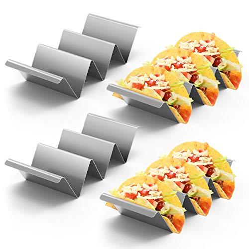 Housolution Taco Halterung, 4 Stück Rostfrei Taco Ständer aus 304 Edelstahl mit Griffen, Spülmaschinenfest Tortilla Halter für Tacos Sandwiches Würste behalter - Silber
