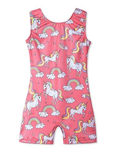 Pink Leotards for Girls Gymnastics Dance 5t 5-6 Years Old Biketards Sparkly