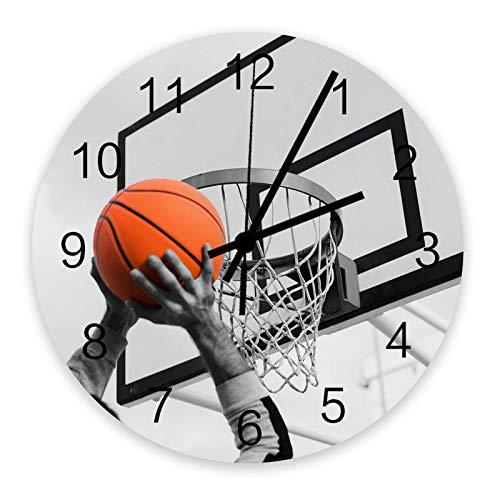 Reloj de pared redondo de madera de 10 ', silencioso, funciona con pilas, no hace tictac, deportes de baloncesto, silencioso, oficina, cocina, dormitorio, reloj de pared, decoración del hogar, patio d