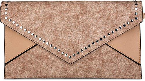 styleBREAKER Envelope Clutch im Kuvert Design mit Nieten, 2-Tone Washed Vintage Look, Abendtasche, Damen 02012172, Farbe:Braun