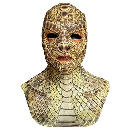 chora Scary Snake Man Mask, Halloween-Schlangenkopf-Latexmaske, lustige Monstermaske Cosplay Requisiten PVC 100 Naturlatexmaske für Partykostüme für Erwachsene, realistisches Aussehen.