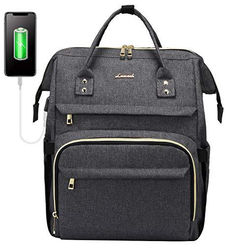 LOVEVOOK Rucksack Damen Schulrucksack, 15,6 Zoll Wasserdicht Laptoprucksack mit USB Ladeanschluss, Rucksäcke für Uni Schule Business Arbeit Reise, Dunkelgrau
