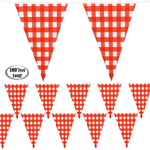 Red Checkered Banner 100' Feet Long   Gingham Pennant Flags   Red and White Checkered Pennant Banner   Carnival, Picnic, Party Red Checkered Flags   by Anapoliz