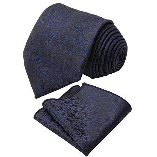 Lafayon Herren Seidenkrawatte Herren Klassische Krawatte und Einstecktuch Set Exquisite Krawatte für Herren mit Geschenkbox