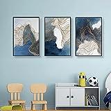 Cuadros creativos Abstracto Azul Gris Dorado Arte moderno de la pared Decoración del hogar Impresión de la pared Decoración del hogar para la decoración del dormitorio 3 piezas 40x60cm sin marco