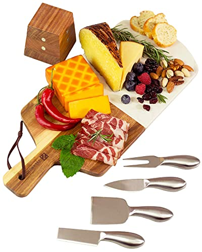 Zelancio Marble and Acacia Wooden Serving Cheese Board, 6 Piece Set Includes Stainless Steel Cheese...