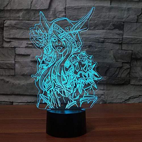 3D lumière World of Warcraft Sylvanas Windrunner 7 couleur LED lumière de nuit télécommande télécommande tactile USB lampe de bureau enfant anniversaire cadeau de Noël décoration lampe de chevet