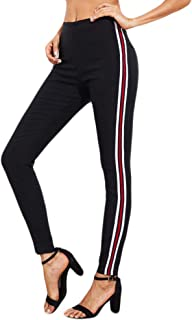 Qootent Women Pencil Pant Striped Feet Casual Sports Jogger Trouser Harem Pants