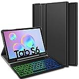 ELTD Tastatur Hülle für Samsung Galaxy Tab S6 (Deutsches QWERTZ), Hülle mit 7 Farben LED-Hintergr&beleuchtung Kabellose Tastatur für Samsung Galaxy Tab S6 T860/T865 10.5 Zoll (Coal)