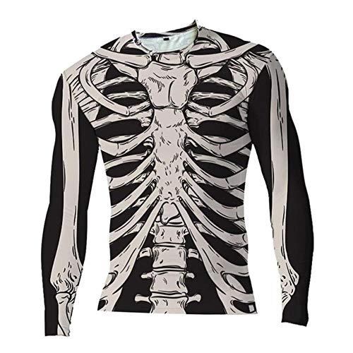 XTR - Camiseta de Esqueleto Tridimensional para Hombre, Camiseta con Estampado de Pintura de Halloween, Manga Larga, decoración de Fiesta de Disfraces de Halloween, 1 Pieza, Negro, XXXL