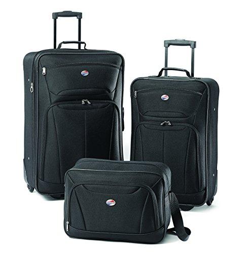 American Tourister Fieldbrook II Softside Upright Luggage Set, Black, 3-Piece (tote/21/25)