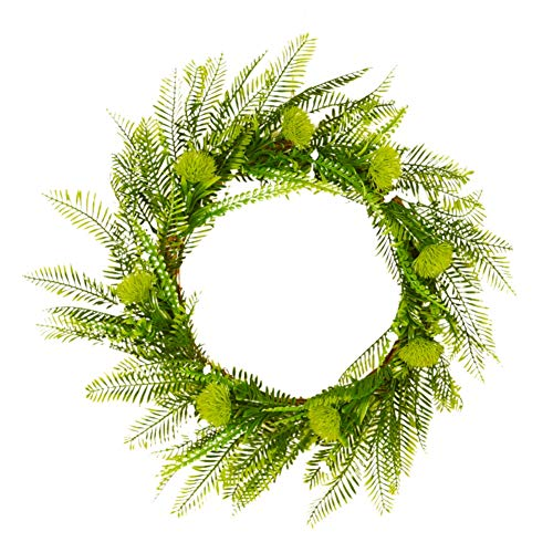 Balai Green Leaves Door Wreaths, Halloween Christmas Thanksgiving Decoratvie Garlands Autumn Wodden Rattan Round Ornaments, Home Front Door Office Wall Wedding Decor
