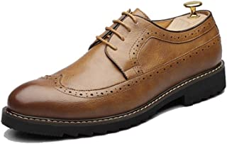 Men's Fashion Oxford Nonchalant Classical Carvings Breathe British Style Outsole Brogue Shoes casual shoes (Color : Yellow, Size : 44 EU)