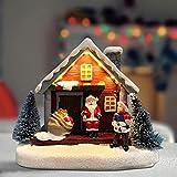DuYong Resina Navidad escena aldea casa, Navidad luminosa pequeña casa estilo europeo nieve, decoraciones de Navidad como regalos de Papá Noel