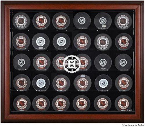 Mounted Memories Boston Bruins Mahogany Framed 30 Hockey Puck Logo Display Case