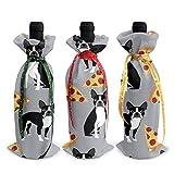 3 pezzi di sacchetti di copertura della bottiglia di vino grigio Boston Terrier Pizza Sacchetti regalo bottiglia di vino per la cena tavolo da pranzo Champagne