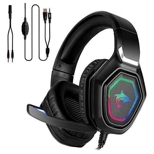 Auriculares para juegos estéreo de primera calidad con micrófono PS4 PC Xbox One, auriculares para juegos estéreo Mac Auriculares para juegos con bajos de 3,5 mm con luz LED.