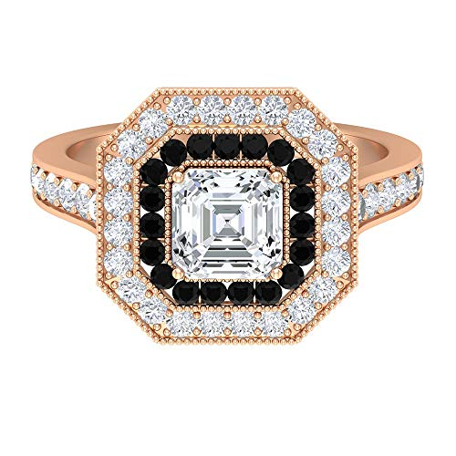 Rosec Jewels 18 quilates oro rosa black Diamond Round Round Brilliant H-I Diamond Moissanite